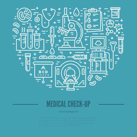 concept médical. Vector illustration avec des articles de recherche médicale - IRM, scan, formulaires check-up, des analyses de sang. illustration isolé pour l'affiche médicale.