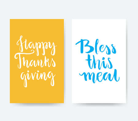 bless: Card templates with handdrawn thanksgiving lettering - happy thanks giving and bless this meal. Handwritten calligraphy traced to vector. Illustration