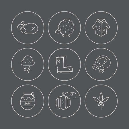 pictogramm: Autumn symbols made in vector. Unique and modern set of linear icons isolated on background. Line icon collection. Illustration
