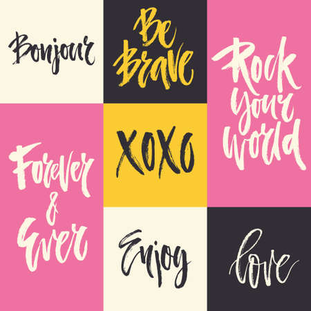 xoxo: Big collection of handdrawn romantic lettering. Handwritten brush quotes. Xoxo, forever and ever, enjoy, love and other words for save the date, wedding decortion or postcard.