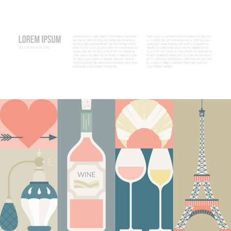 tour eiffel: Web page or banner template with France symbols and copyspace. Modern flat style illustration with Tour Eiffel and other symbols of France. Illustration