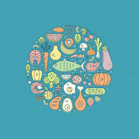 Healthy food arranged in a circle. Great illustration for healthy diet concept, paleo diet or healthy lifestyle. Local market poster.