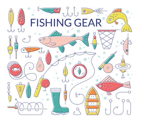 pictogramm: Collection of fishing equipment made in vector. Trout, salmon, rod, boat, tackle, bait and other elements for outdoor activity. Fishing club or fishing gear shop clipart.