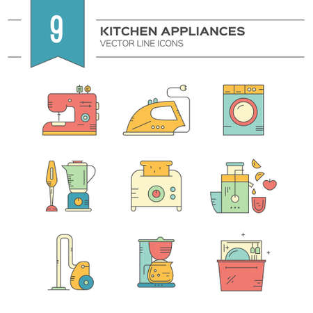 pictogramm: Collection of vector icons with household items and appliances. Dishwasher, iron, coffee machine, vacuum cleaner and other utensils made in modern vector style. Illustration