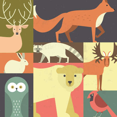 mammals: Forest animals made in geometric flat style. Reindeer, fox, moose, bear and other mammals and birds. Save the planet concept. Poster for children room or element for a banner.