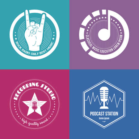 recording studio: Collection of music made in vector. Recording studio labels hipster style. Podcast and radio badges with sample text. Vintage t-shirt design elements with musical elements - guitar, horns. Sound production.