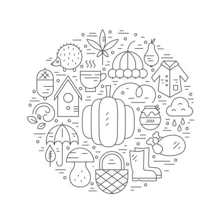 rain coat: Autumn symbols in circle. Pumpkin, coat, wind and other line fall symbols. Great graphic for announcement, advertisement, flyer or banner. Modern design element for flyer template, advertisement or commercial ad.