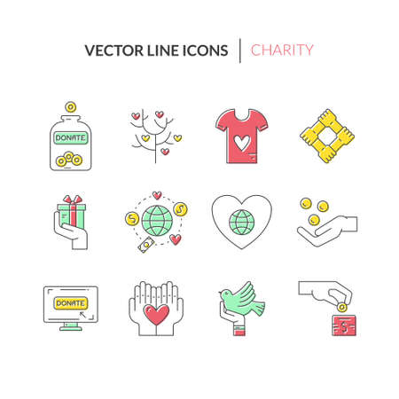 philanthropy: Charity and donation icons made in modern line style. Helping hand vector illustration. Vector symbols of fundraising, charity work, label for non-profit volunteer organization.