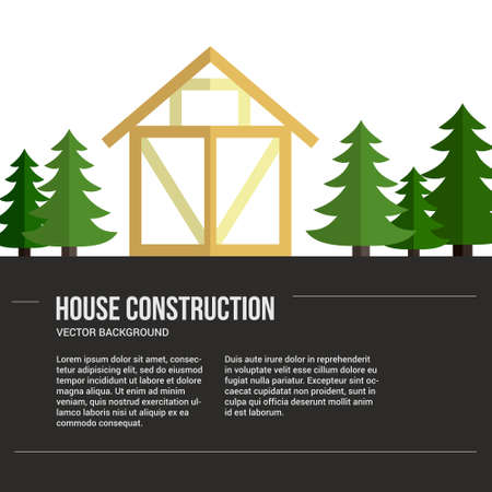 renovate: Perfect background for timber industry flyer or banner with frame house. Modern design element for flyer template, advertisement or commercial add.