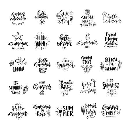 Vector illustration with hand lettering for summer vacation, travel agency, summer party. Beach vacation. Unique design for postcard, mug or poster. Illustration