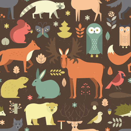 mammals: Pattern with forest animals mae in flat style. Fox, bear, wold, squirrel and other mammals on seamless background. Nature and animals pattern. Illustration