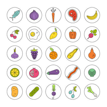 pictogramm: Healthy diet vector pictogramm collection with different types of fruits, vegetables, meat and seafood, Vector icon set.