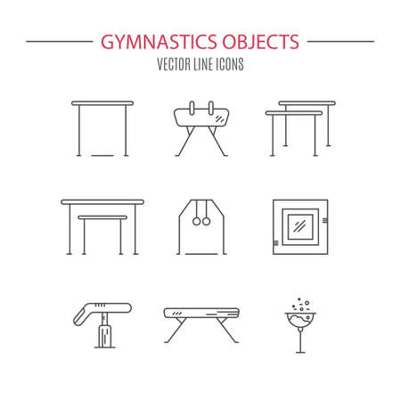 Thin line vector icon set with Artistic gymnastics equipment and elements. Clean vector series. Athlete or gymnast icon collection.