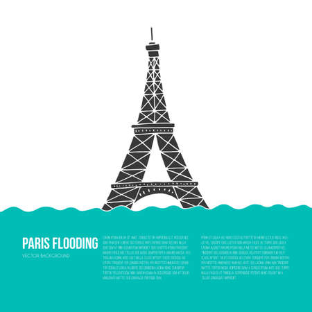 terrifying: Eiffel Tower under the water. Paris flood. Flooded symbold of France.
