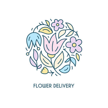 circle flower: Modern line ctyle floral in a shape of a circle. Linear with flowers. Business identity for for boutique, organic cosmetics or flower shop.