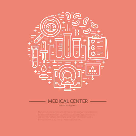 Health care and medical research vector illustration made in line style. Medicine and chemical engineering.