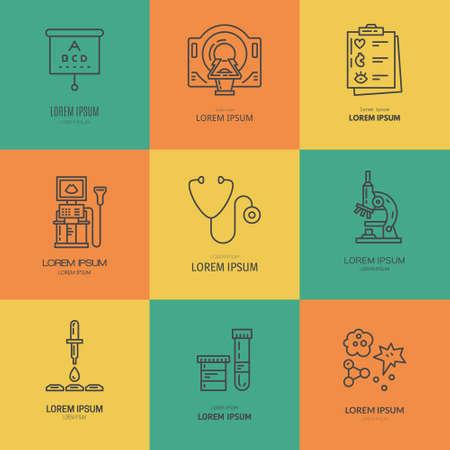 Collection de différents articles médicaux et machines. La recherche médicale et de diagnostic. Étiquette pour le laboratoire, centre de recherche, IRM.