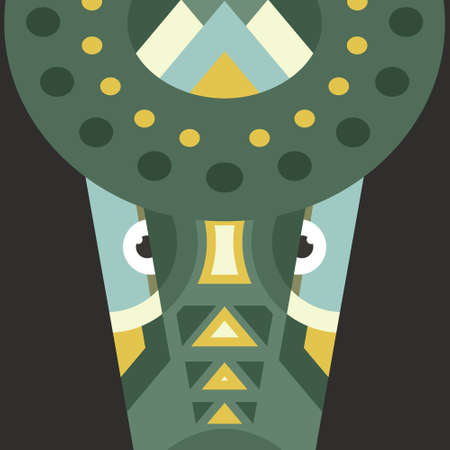 safari animal: Portrait of a crocodile made in trendy flat style vector. African animal. Safari label or t-shirt design with cute animal character. Illustration
