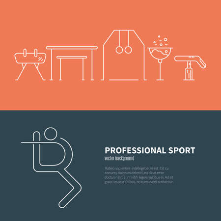 pommel: Modern and unique Artistic gymnastics concept made in modern linear vector style. Modern design element for flyer template, advertisement or commercial add. Sport and fitness vector.