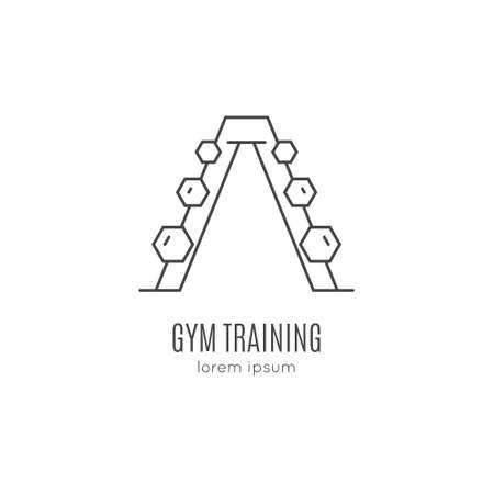 Single logo with a dumbbel made in modern line style vector. Perfect label for gym, fitness or other healthy lifestyle industry.  イラスト・ベクター素材