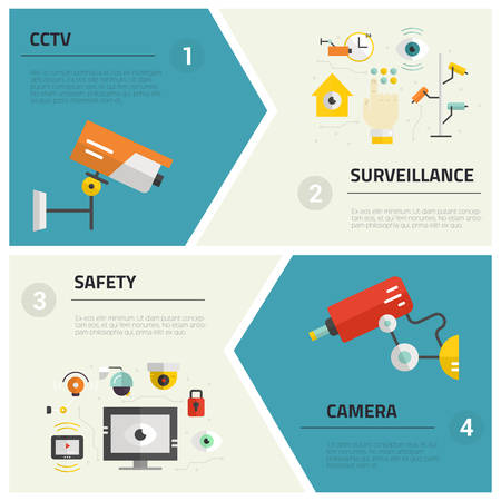 Isolated and easy to use vector templates for flyers and banners with different video surveillance equipment. CCTV and security cameras made in flat style. Monitored area concept. Security company design elements.
