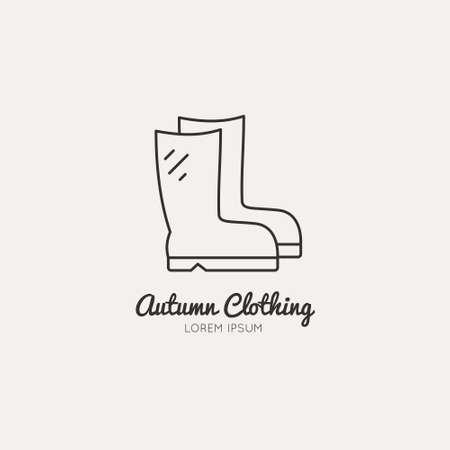 Thin line vector illustration of rain boots - symbol of autumn.