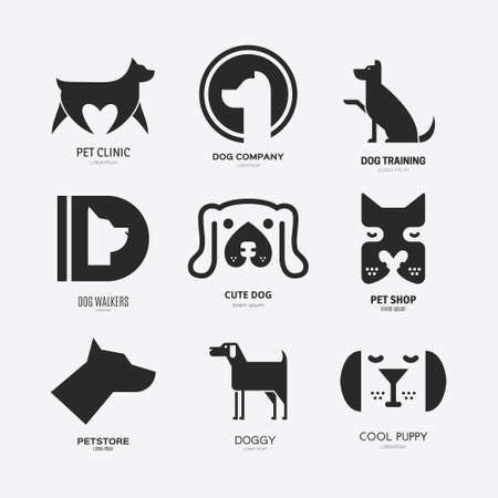 Set of logotypes with dogs. Dog logo collection. Logotype for vet clinic, pet shop, dog training or dog shelter. Set of dog related logo designs. Editable design element for your company. Vector logo   イラスト・ベクター素材