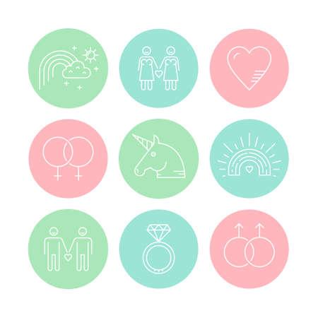 LGBT community symbols including rainbow and unicorn. Homosexual design elements. Gay pride. Same sex love.