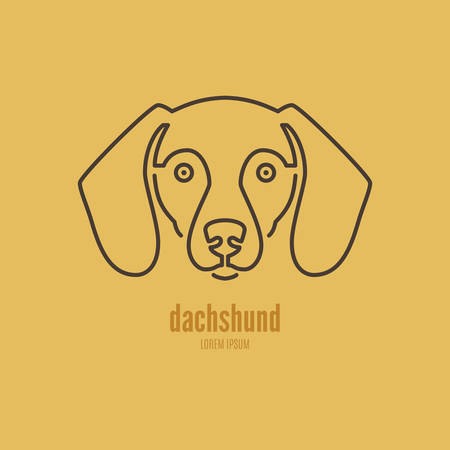 Portrait of a dachshund made in modern line style vector. Perfect logo for dog breeder, pet shop, veteriarian clinic or dog training company.