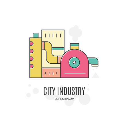 Simple factory logotype made in vector. Ilustracja