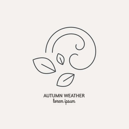 Abstract symbol of a windy weather with leaves and wind curles made in vector.