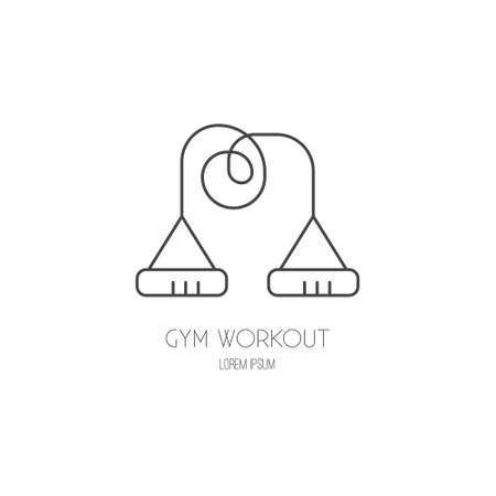 Single logo with a skipping rope made in modern line style vector. Perfect label for gym, fitness or other healthy lifestyle industry.