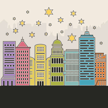 Illustration of office buildings - cityscape made in trendy line style vector. Modern city skyline. Office buildings - graphic element for real estate or construction company. Modern life concept. Urban landscape. Reklamní fotografie - 116800220