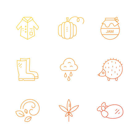 Autumn symbols made in vector. Unique and modern set of linear icons isolated on background. Line icon collection. Ilustração