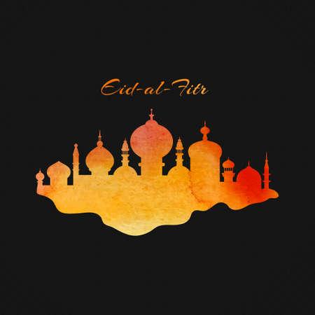 Islamic city with watercolor texture - vector design element for muslim community Ramadan Kareem or Eid Al Fitr. Illustration