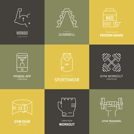 Gym training, bodybuilding and active lifestyle logo collection. Vector lone series. Fitness and active lifestyle lootypes. Line icon collection.