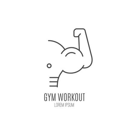 Single logo with a muscle man torso with big biceps made in modern line style vector. Perfect label for gym, fitness or other healthy lifestyle industry.
