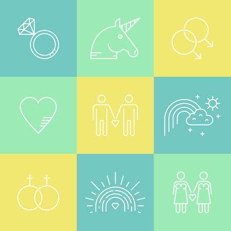 Gay and Lesbian LGBT vector icon collection. Gay marriage and gay pride symbols made in thin line vector style.