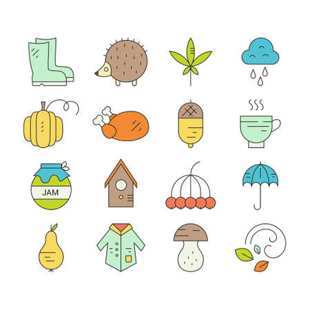 Fall icon collection. Turkey, umbrella, rain, mushroom, coat and other seasonal elements. Vector autumn symbols.