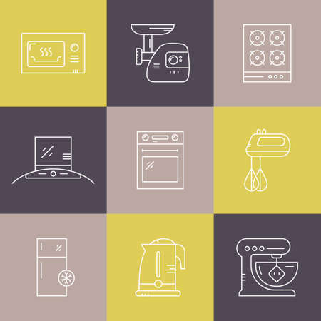 Collection of labels with different house applinces including fridge, mincer, mixer, microwave, teapot. Vector line collection of household symbols. Ilustracja
