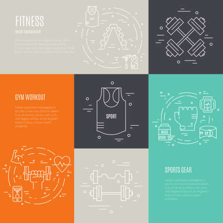 Vector line style design element with different fitness and sport equipment and objects. Clipart for healthy lifestyle blog, fitness flyer or banner.  イラスト・ベクター素材