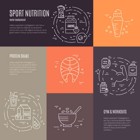 Collection of four banners with sport nutrition. Diet design element. Healthy food and sport nutrition symbols made in line style vector. Stock Illustratie