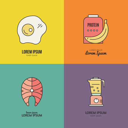 Sport nutrition icons. Vector symbols of healthy food. Design elements for menu, diet symbols.