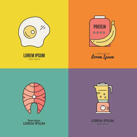 Sport nutrition icons. Vector symbols of healthy food. Design elements for menu, diet symbols.