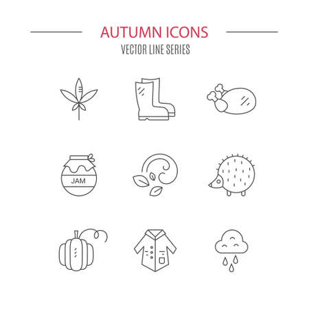 Set of autumn icons including rain, jam, weather. Vector symbols of fall.  Modern set of line elements. Stock fotó - 116800235