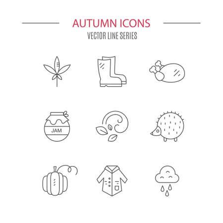 Set of autumn icons including rain, jam, weather. Vector symbols of fall.  Modern set of line elements. Illustration