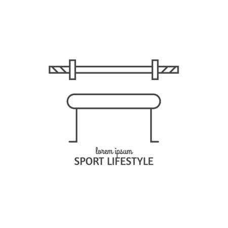 Single logo with gym equipment made in modern line style vector. Perfect label for gym, fitness or other healthy lifestyle industry.
