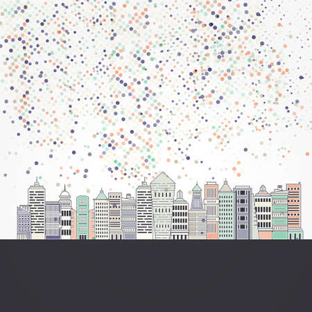 Illustration of office buildings - cityscape made in trendy line style vector. Modern city skyline. Office buildings - graphic element for real estate or construction company. Modern life concept. Urban landscape.