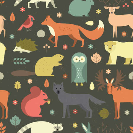 Pattern with forest animals mae in flat style. Fox, bear, wold, squirrel and other mammals on seamless background. Nature and animals pattern. Ilustração