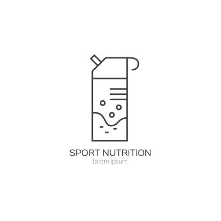 Single logo with a sport drink made in modern line style vector. Perfect label for gym, fitness or other healthy lifestyle industry.